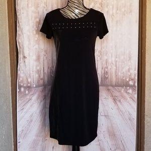 NWT Calvin Klein black faux leather trim dress XS